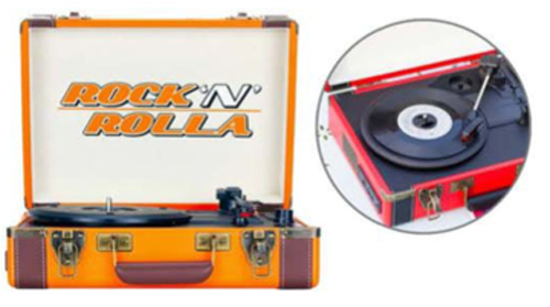Rock 'N' Rolla Premium Rechargeable Portable Briefcase Turntable